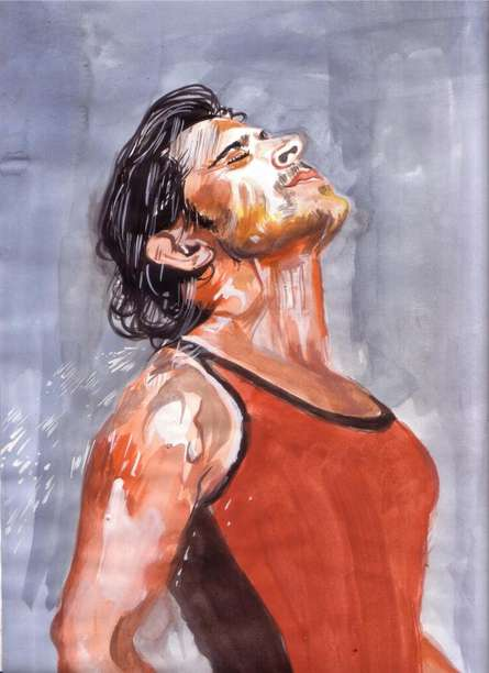 Portrait Watercolor Art Painting title Bathed in passion spirit is undying! by artist Saurabh Turakhia