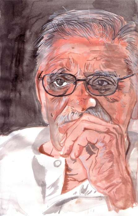 Saurabh Turakhia | Watercolor Painting title Master wordsmith Gulzar on Paper | Artist Saurabh Turakhia Gallery | ArtZolo.com