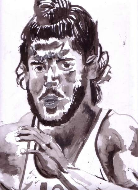 Photorealistic Watercolor Art Painting title 'Farhan Akhtar as Milkha Singh' by artist Saurabh Turakhia