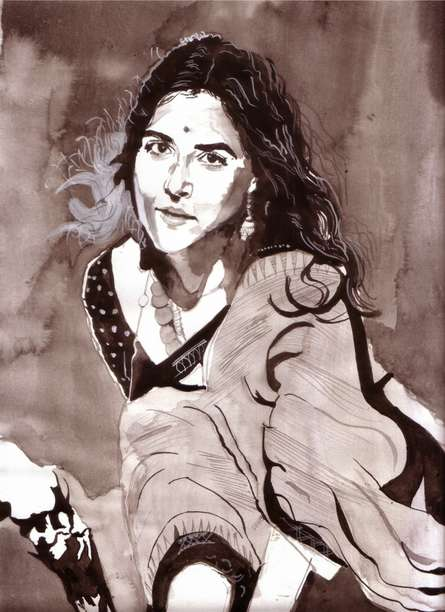 Portrait Watercolor Art Painting title Being Beautiful by artist Saurabh Turakhia