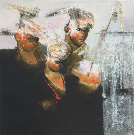 Figurative Oil Art Painting title 'In Tune 5' by artist Ajay Deshpande