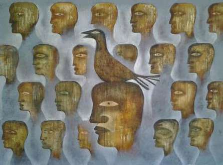 Fog And The Bird | Painting by artist Ranjith Raghupathy | oil | Canvas