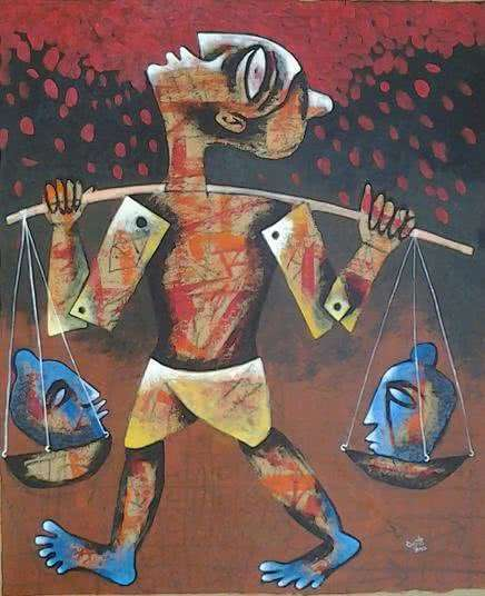 Figurative Acrylic Art Painting title Peddler by artist Ranjith Raghupathy