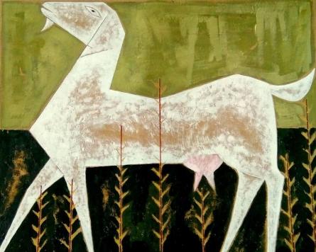 Ranjith Raghupathy | Acrylic Painting title Goat on Cardboard | Artist Ranjith Raghupathy Gallery | ArtZolo.com