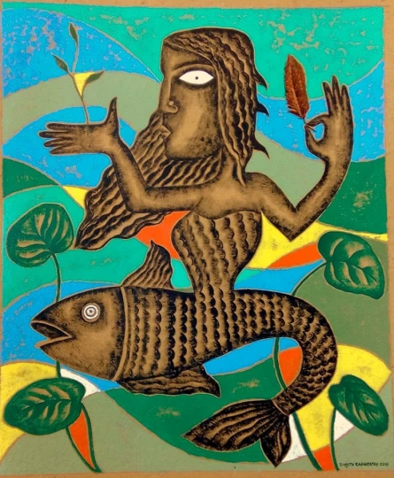 contemporary Acrylic Art Painting title Mother Fish by artist Ranjith Raghupathy