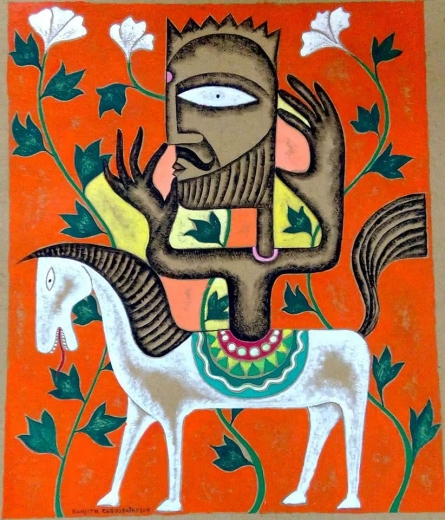 Ranjith Raghupathy | Acrylic Painting title White Flower Hunt on Cardboard