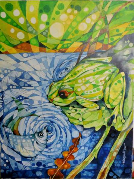 The Frog | Painting by artist Pradip Goswami | acrylic | Canvas