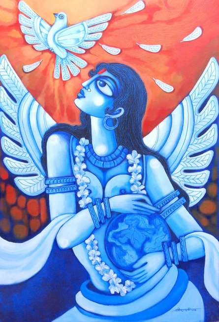 Figurative Acrylic Art Painting title 'World In Me' by artist Pradip Goswami