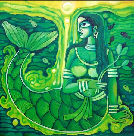 Pradip Goswami | Acrylic Painting title Dreamy Mermaid on Canvas | Artist Pradip Goswami Gallery | ArtZolo.com