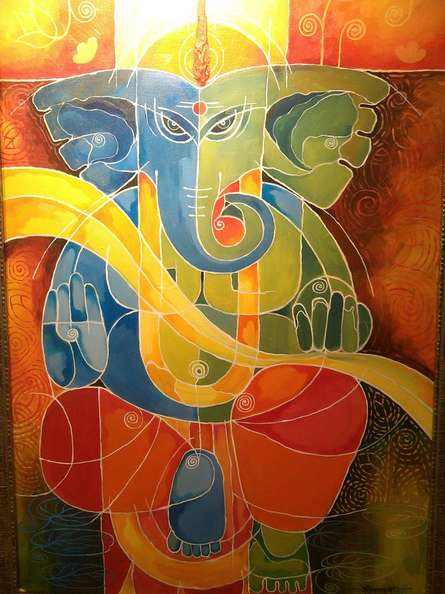 Ganesha I   Painting by artist Pradip Goswami   acrylic   Canvas