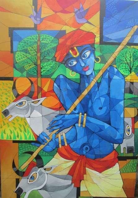 Krishna | Painting by artist Pradip Goswami | acrylic | Canvas