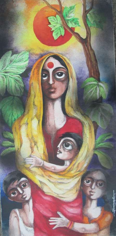 Figurative Acrylic Art Painting title 'Mother And Children' by artist Pradip Goswami