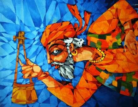 Figurative Acrylic Art Painting title Fakir by artist Pradip Goswami