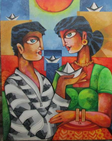 Love | Painting by artist Pradip Goswami | acrylic | Canvas