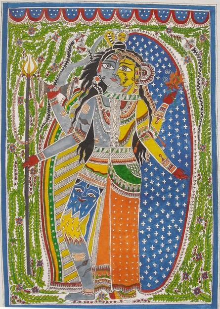 Figurative Watercolor Art Painting title Ardhnariswar by artist Parboni Royghosh