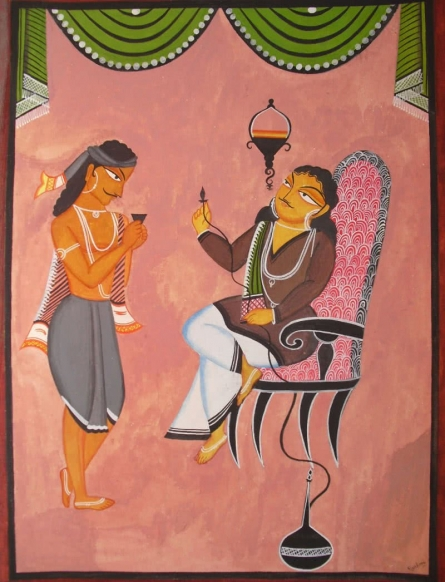Babu And Servant Kalighat Painting | Painting by artist Parboni Royghosh | mixed-media | Handmade Paper
