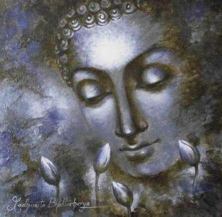 Portrait Acrylic Art Painting title 'Buddha The Divine Soul' by artist Madhumita Bhattacharya