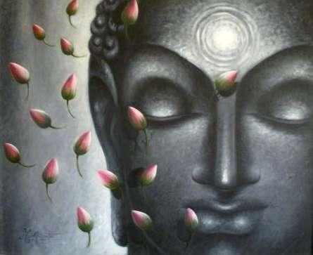 Portrait Oil Art Painting title 'Divya Jyoti Buddha' by artist Madhumita Bhattacharya