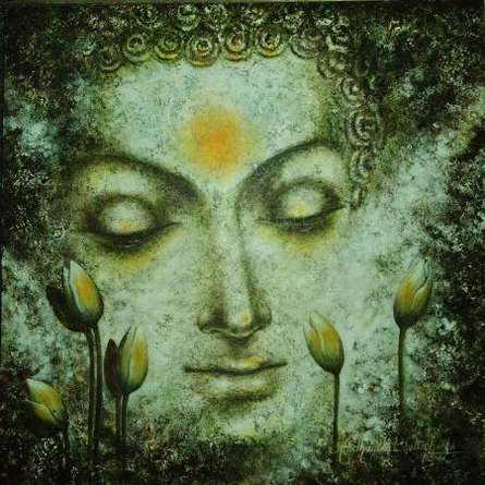 Portrait Acrylic Art Painting title 'The Divine Soul of Buddha' by artist Madhumita Bhattacharya
