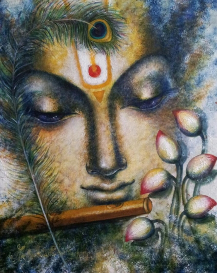 Madhumita Bhattacharya Paintings | Acrylic Painting - Krishna Playing Flute I by artist Madhumita Bhattacharya | ArtZolo.com