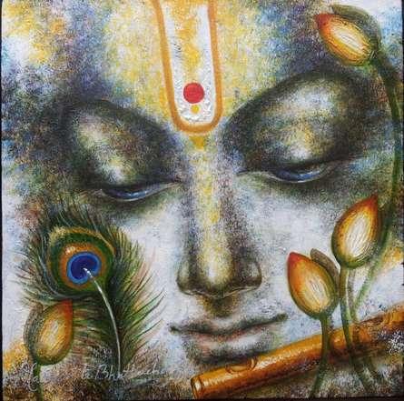 Religious Acrylic Art Painting title Krishna Playing Flute II by artist Madhumita Bhattacharya