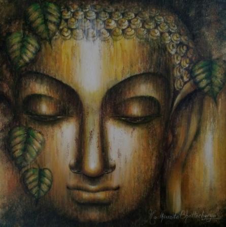 Religious Acrylic Art Painting title 'Bodhi' by artist Madhumita Bhattacharya