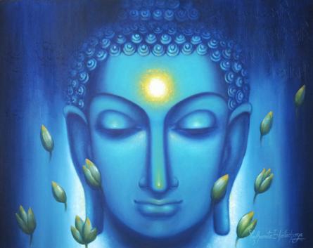 Figurative Oil Art Painting title 'Dhyanam3' by artist Madhumita Bhattacharya