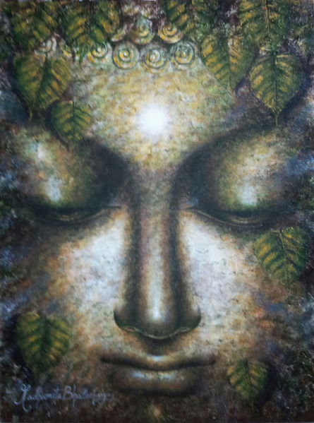Madhumita Bhattacharya | Acrylic Painting title Dhyanmurti on Canvas | Artist Madhumita Bhattacharya Gallery | ArtZolo.com