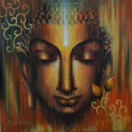 Madhumita Bhattacharya | Acrylic Painting title Buddha Divyagyan on Canvas | Artist Madhumita Bhattacharya Gallery | ArtZolo.com