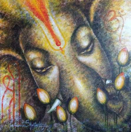 Religious Acrylic Art Painting title Shri Ganesh by artist Madhumita Bhattacharya