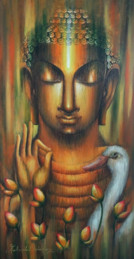 Religious Acrylic Art Painting title 'The Pure Soul' by artist Madhumita Bhattacharya
