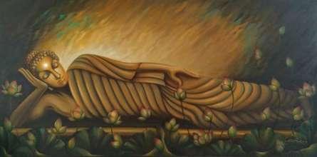 Religious Oil Art Painting title The Reclining Buddha by artist Madhumita Bhattacharya