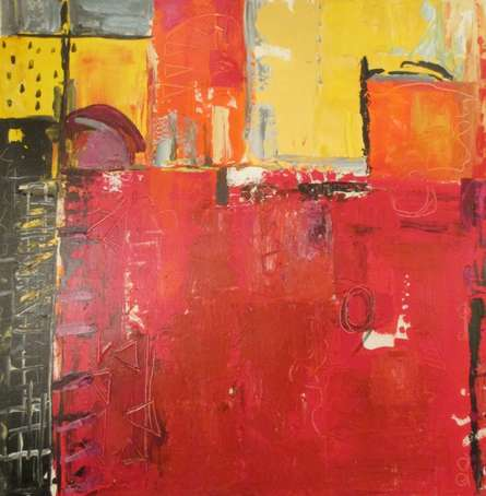 Abstract Acrylic Art Painting title 'painted puzzle' by artist Romaine Kaufman
