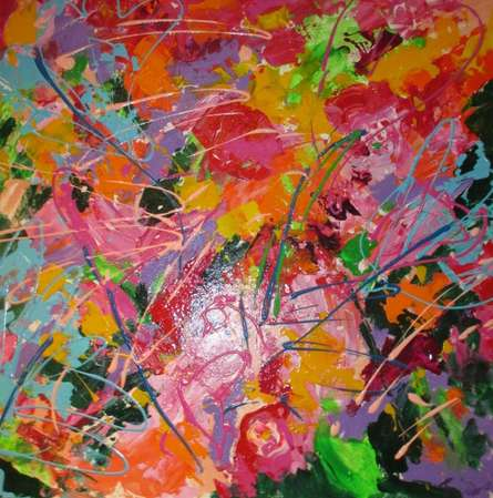 Abstract Acrylic Art Painting title constant search for balance by artist Romaine Kaufman