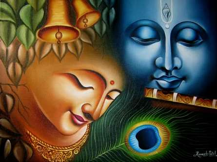 Religious Oil Art Painting title 'Radha krishna 8 painting' by artist Ramesh