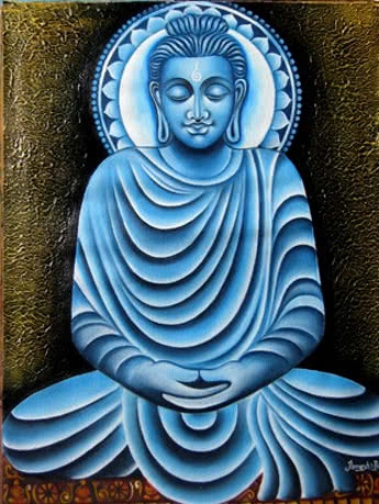 Lord buddha, Painting - Figurative - Ind | Painting by artist Ramesh Patel | oil | Canvas