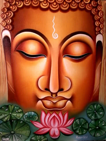 Figurative Oil Art Painting title Lord buddha Painting Figurative Ind by artist Ramesh Patel