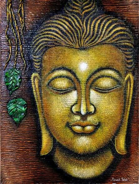 Ramesh Patel | Oil Painting title Buddha on Canvas | Artist Ramesh Patel Gallery | ArtZolo.com
