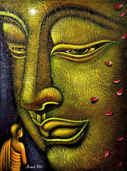 Religious Oil Art Painting title 'Buddha and Devotee' by artist Ramesh Patel