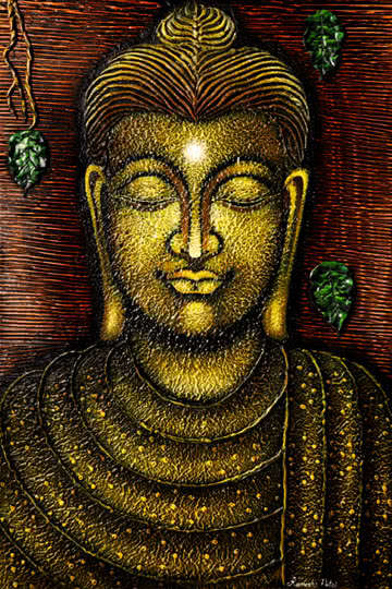 Religious Acrylic Art Painting title 'Lord buddha 5 painting' by artist Ramesh