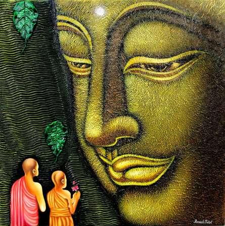Figurative Acrylic Art Painting title Lord buddha painting by artist Ramesh