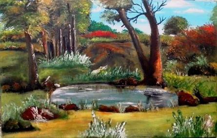 Along The Pond | Painting by artist Rinki Prayagi | acrylic | Canvas
