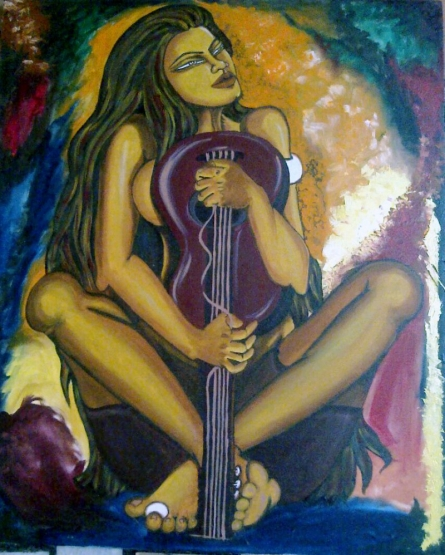 Guitarist | Painting by artist Poonam Tiwari | acrylic | Canvas