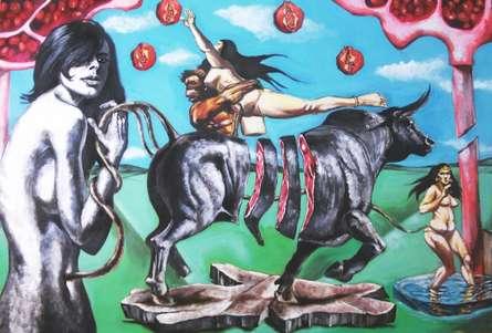 Partho Sengupta | Gods Workshop Mixed media by artist Partho Sengupta on Canvas | ArtZolo.com