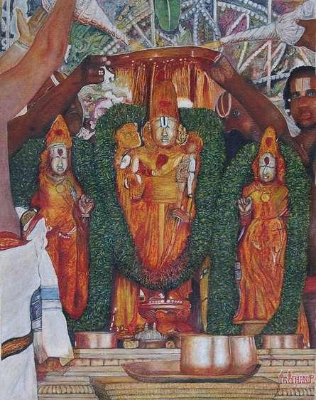 Religious Oil Art Painting title Tirupathi Balaji Abhishegam by artist Inithan Ponnuswamy