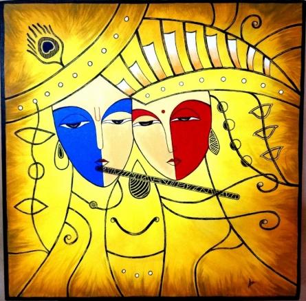 Radha Krishna   Painting by artist Nirmal Ramesan   acrylic   Canvas