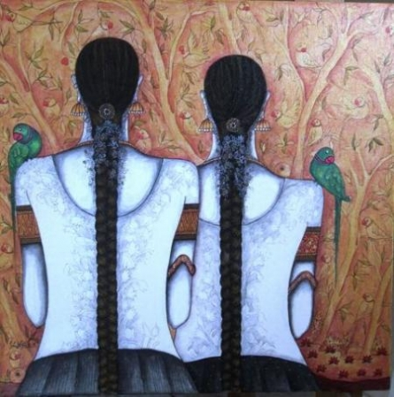 Kappari Kishan | Acrylic Painting title Friends on Canvas | Artist Kappari Kishan Gallery | ArtZolo.com