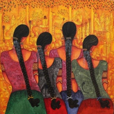Figurative Acrylic Art Painting title 'Rhythm' by artist Kappari Kishan