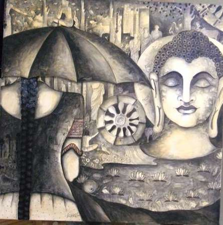 Figurative Acrylic Art Painting title 'Girls at Buddha' by artist Kappari Kishan