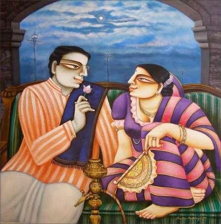 Babu - Bibi | Painting by artist Gautam Mukherjii | acrylic | Canvas